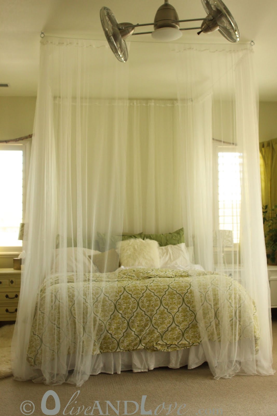 Best ideas about DIY Canopy Bed Curtains . Save or Pin Ceiling mounted bed canopy consisting of eyebolts turn Now.