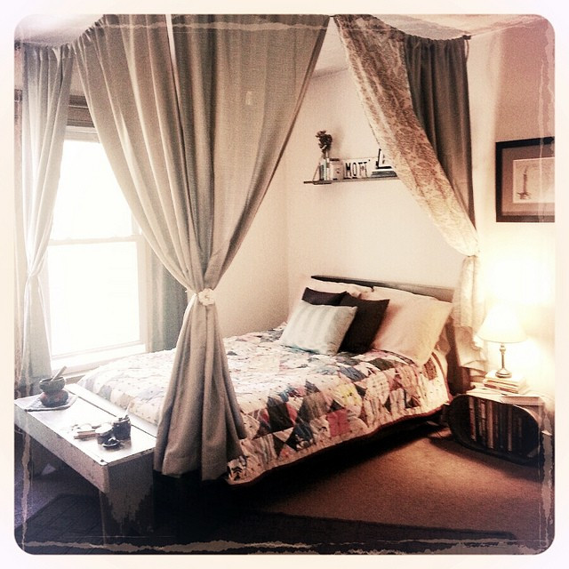 Best ideas about DIY Canopy Bed With Curtain Rods . Save or Pin Diy Canopy Bed With Curtain Rods Diy Canopy Bed Rope Bed Now.
