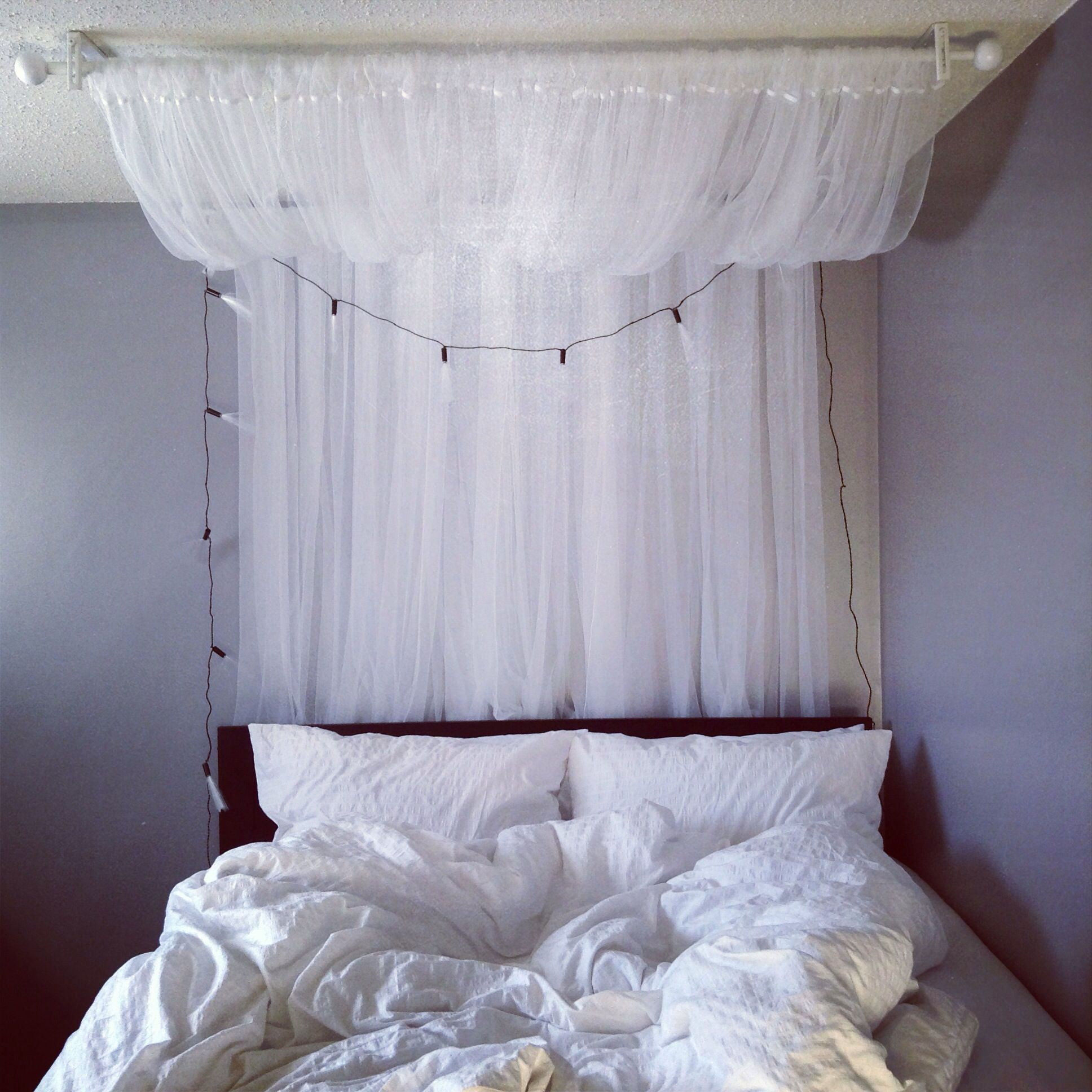 Best ideas about DIY Canopy Bed With Curtain Rods . Save or Pin DIY canopy 2 curtain rods and 2 sets of LILL sheer Now.