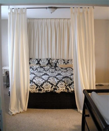 Best ideas about DIY Canopy Bed With Curtain Rods . Save or Pin diy canopy bed using curtain rods above bed onto ceiling Now.