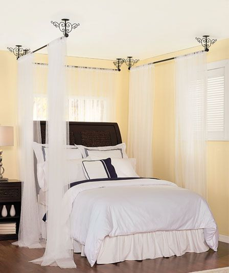 Best ideas about DIY Canopy Bed With Curtain Rods . Save or Pin 17 Best ideas about Ceiling Mount Curtain Rods on Now.