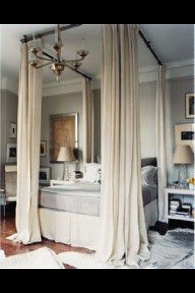 Best ideas about DIY Canopy Bed With Curtain Rods . Save or Pin Mock canopy bed made with curtain rods Now.