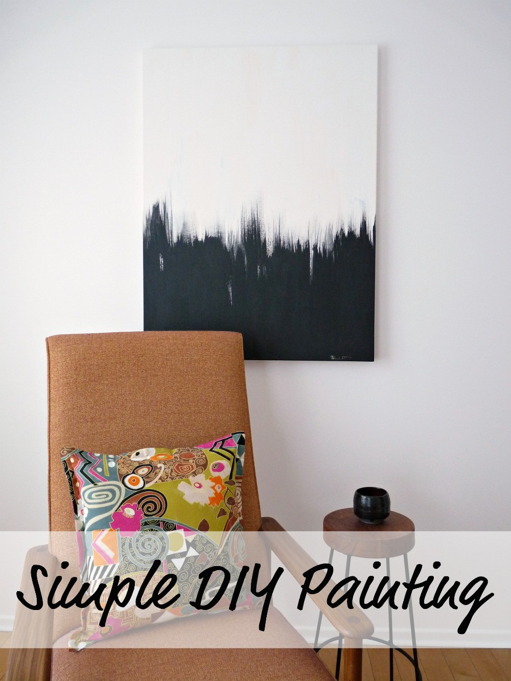 Best ideas about DIY Canvas Paintings . Save or Pin Simple But Striking Black White DIY Abstract Painting Now.