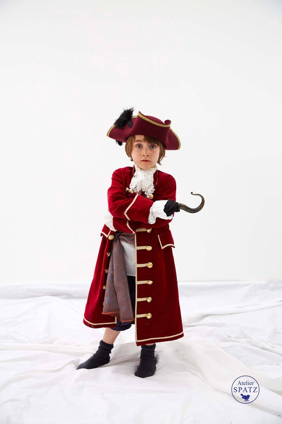 Best ideas about DIY Captain Hook Costume . Save or Pin Captain Hook Coat Pirate Costume Red Gold Velvet COAT ONLY Now.
