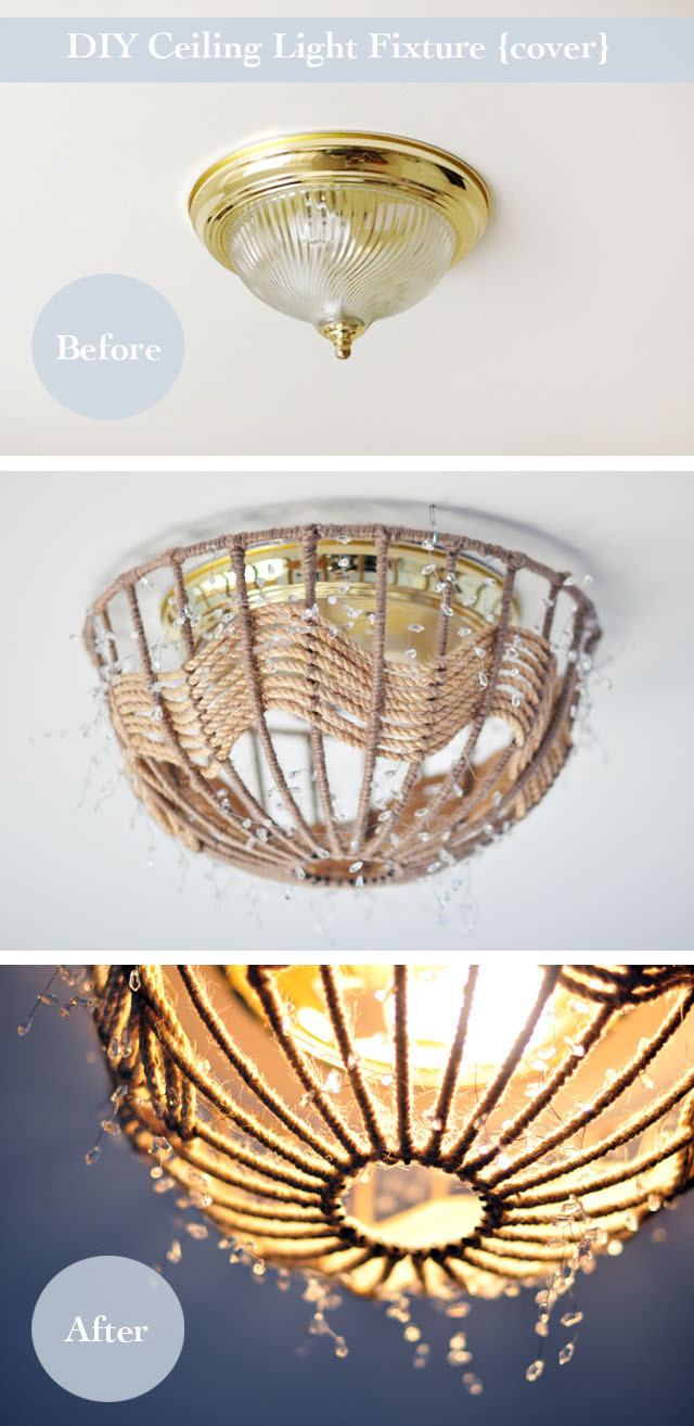 Best ideas about DIY Ceiling Lighting . Save or Pin DIY Rope Pendant Lamp How to Disguise Old Ugly Ceiling Now.