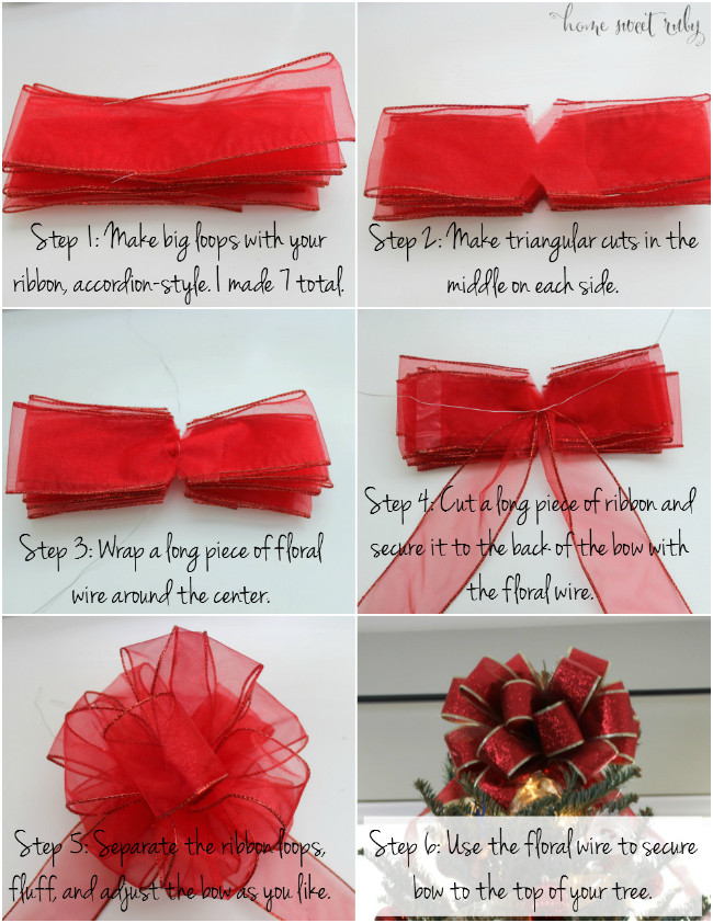 Best ideas about DIY Christmas Bow . Save or Pin Quick DIY Christmas Tree Bow Home Sweet Ruby Now.