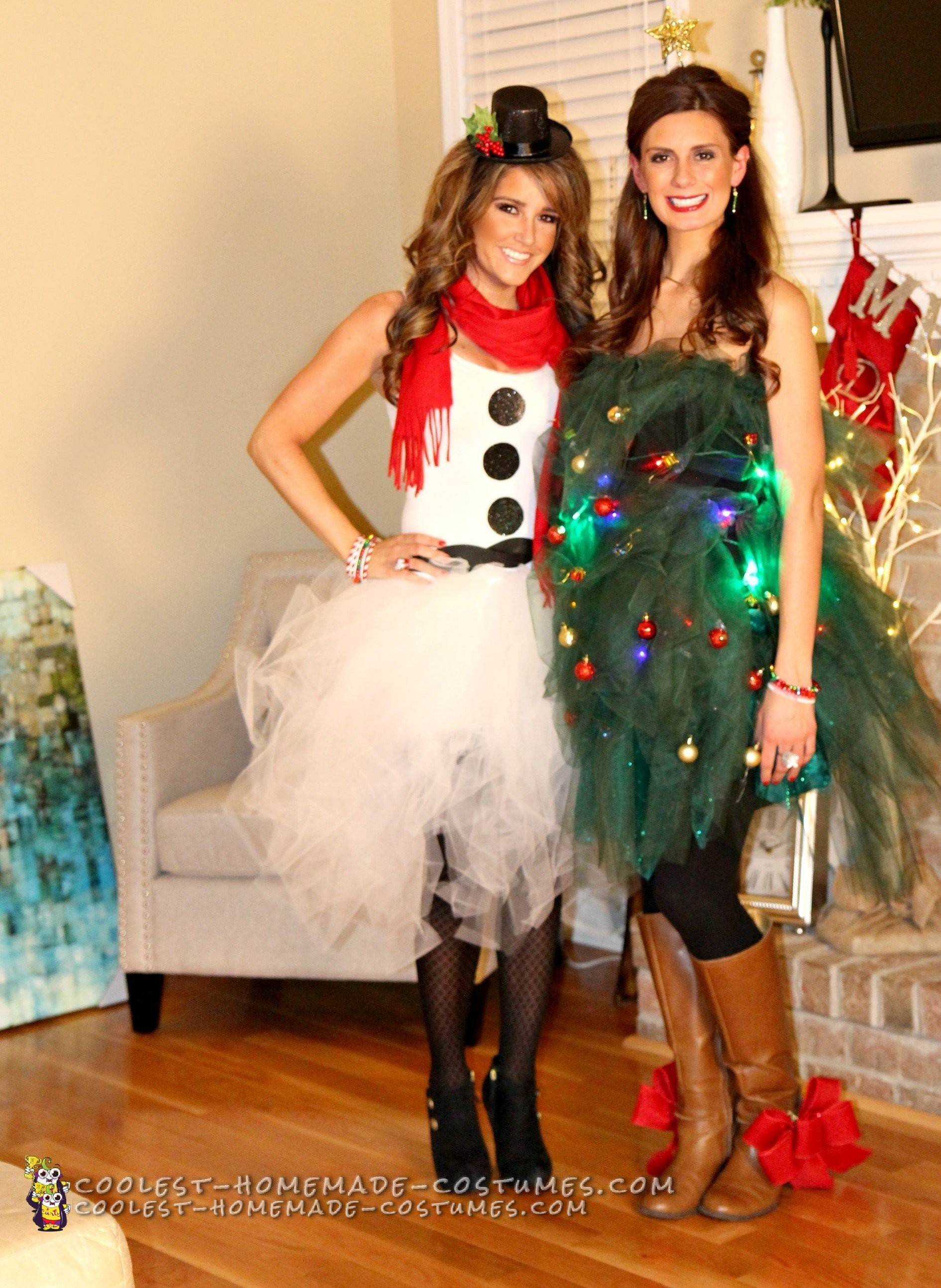 Best ideas about DIY Christmas Costumes . Save or Pin Easy Tulle Snowman and Christmas Tree Couple Costume Now.