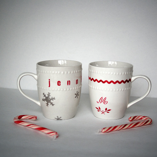 Best ideas about DIY Christmas Mug . Save or Pin Dollar Store Stenciled Gift Mugs Now.