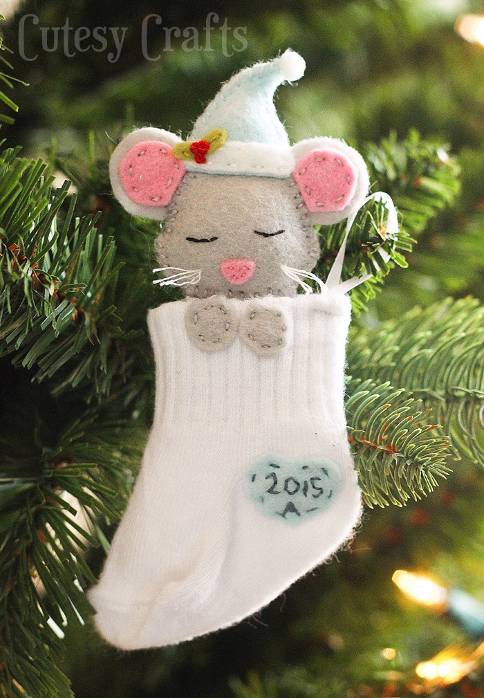 Best ideas about DIY Christmas Ornament Ideas . Save or Pin Baby Sock DIY Christmas Ornaments Cutesy Crafts Now.