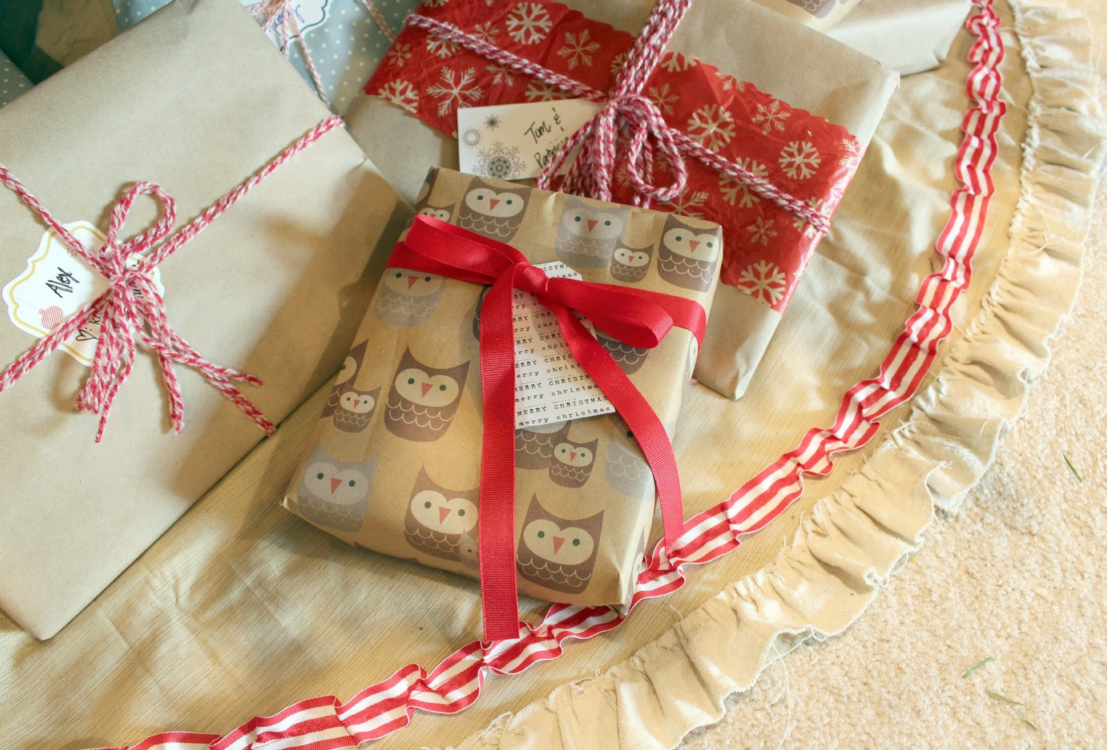 Best ideas about DIY Christmas Tree Skirts . Save or Pin 1060 Bliss a simple $7 DIY Christmas skirt Now.
