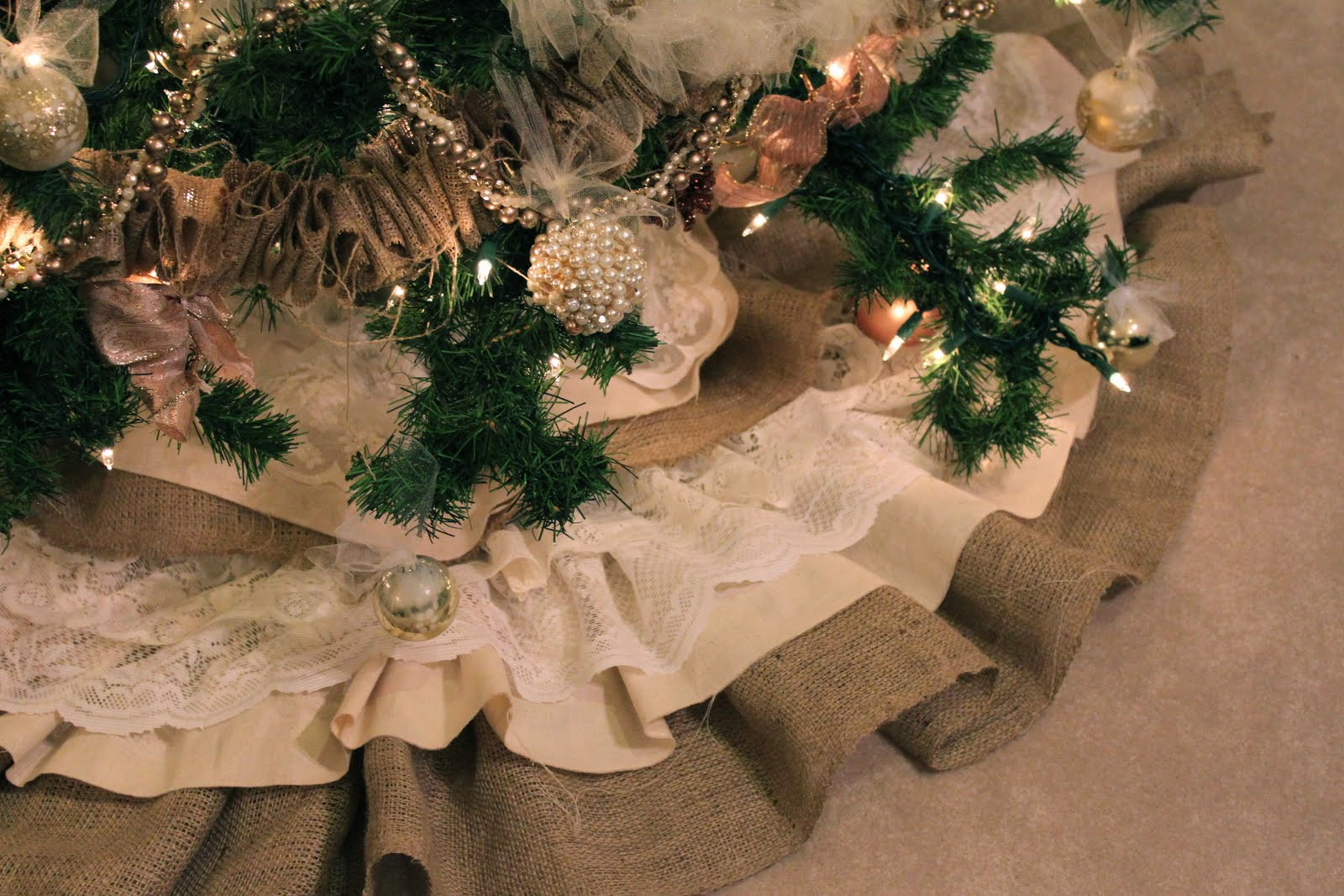 Best ideas about DIY Christmas Tree Skirts . Save or Pin do it yourself divas DIY Burlap and Lace Christmas Tree Now.