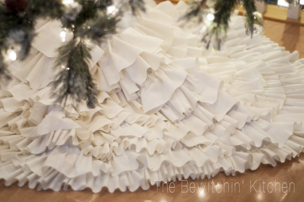 Best ideas about DIY Christmas Tree Skirts . Save or Pin Joanna Gaines Inspired No Sew Ruffled Tree Skirt All Created Now.