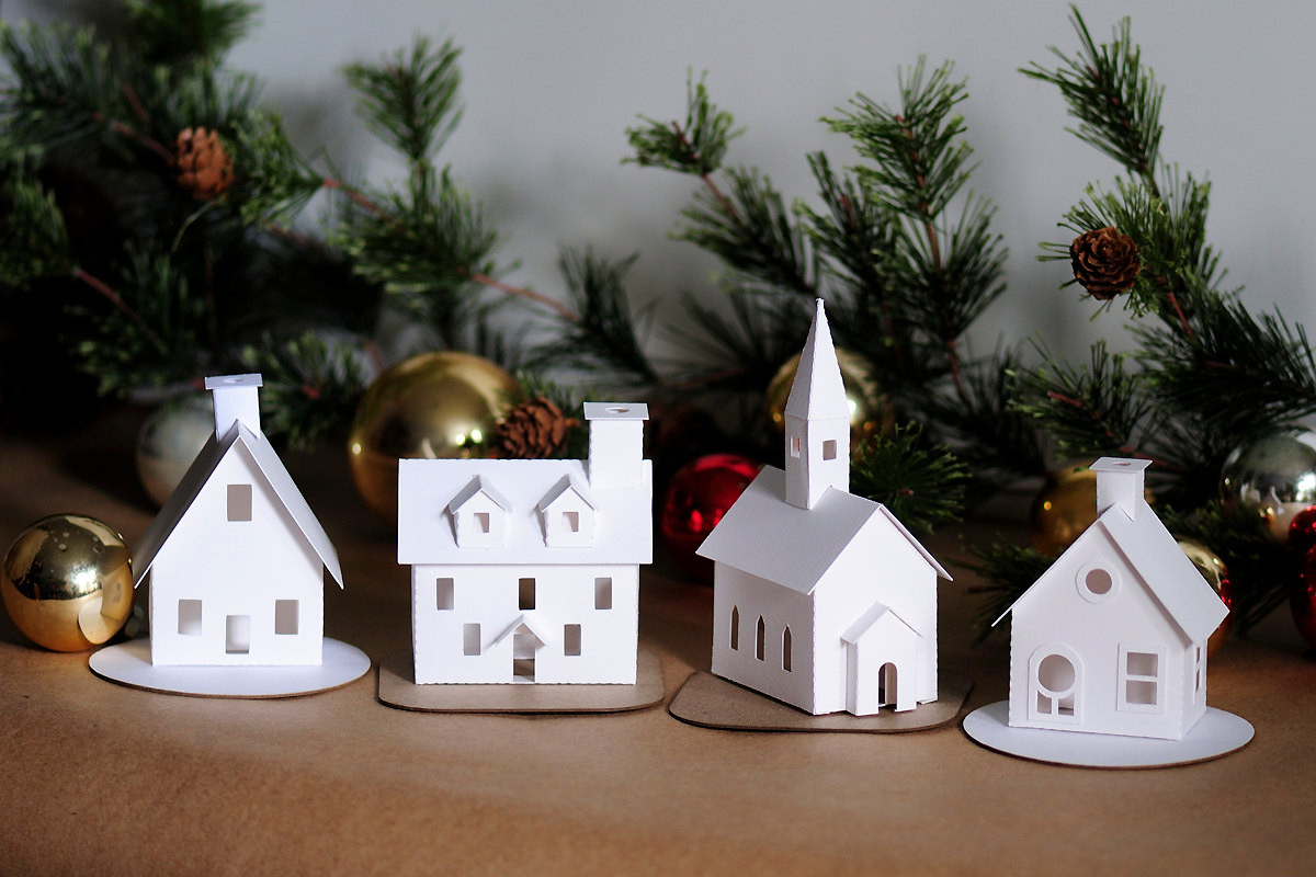 Best ideas about DIY Christmas Villages . Save or Pin DIY Putz Village Ornament Kit of 4 Christmas Glitter House Now.