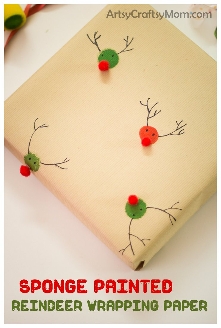 Best ideas about DIY Christmas Wrapping Paper . Save or Pin Sponge Painted Reindeer Wrapping Paper Artsy Craftsy Mom Now.