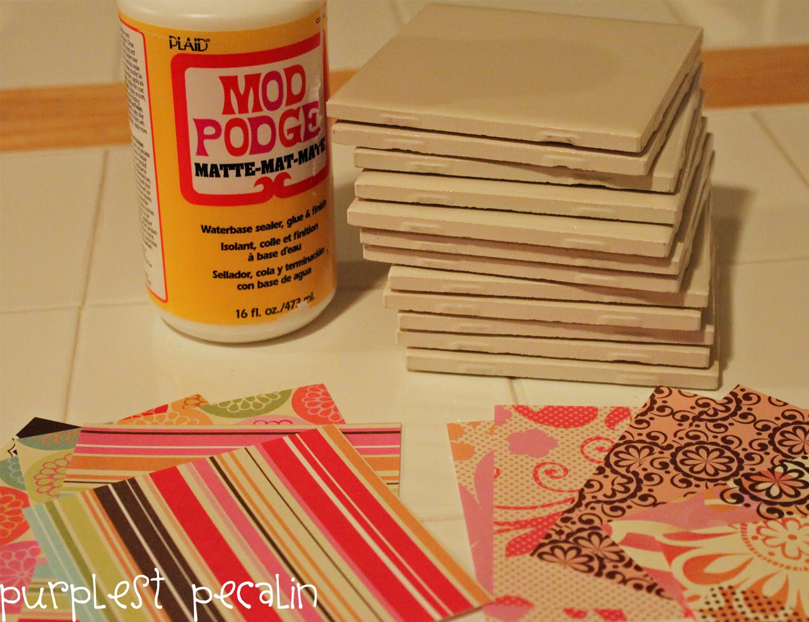 Best ideas about DIY Coaster Tiles . Save or Pin Purplest Pecalin DIY Coaster Tiles [Pinterest Challenge Now.