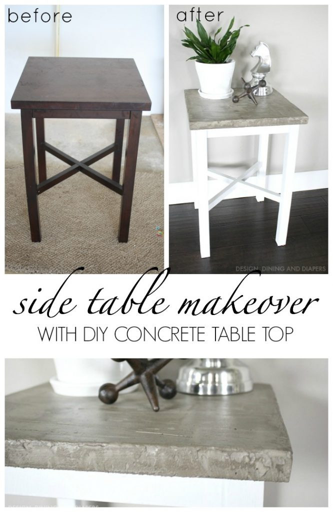 Best ideas about DIY Concrete Tables . Save or Pin Side Table Makeover With Concrete Top Taryn Whiteaker Now.