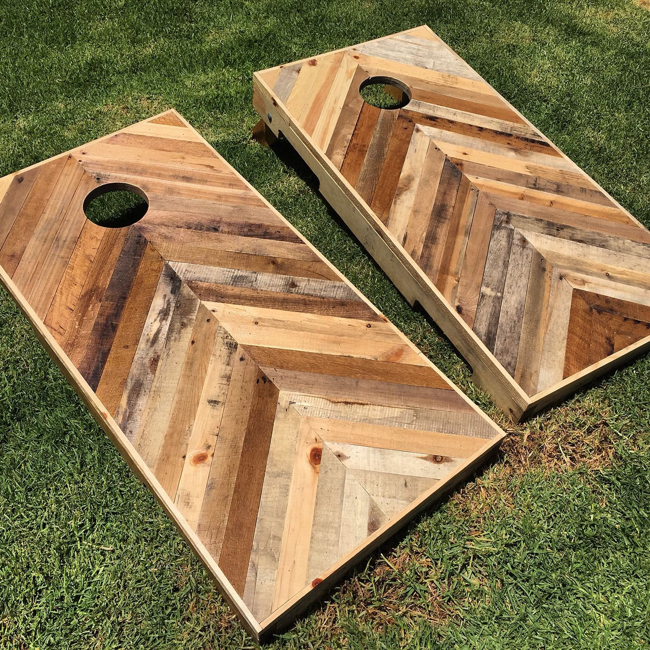 Best ideas about DIY Cornhole Plans . Save or Pin DIY pallet chevron cornhole boards Follow me on Instagram Now.
