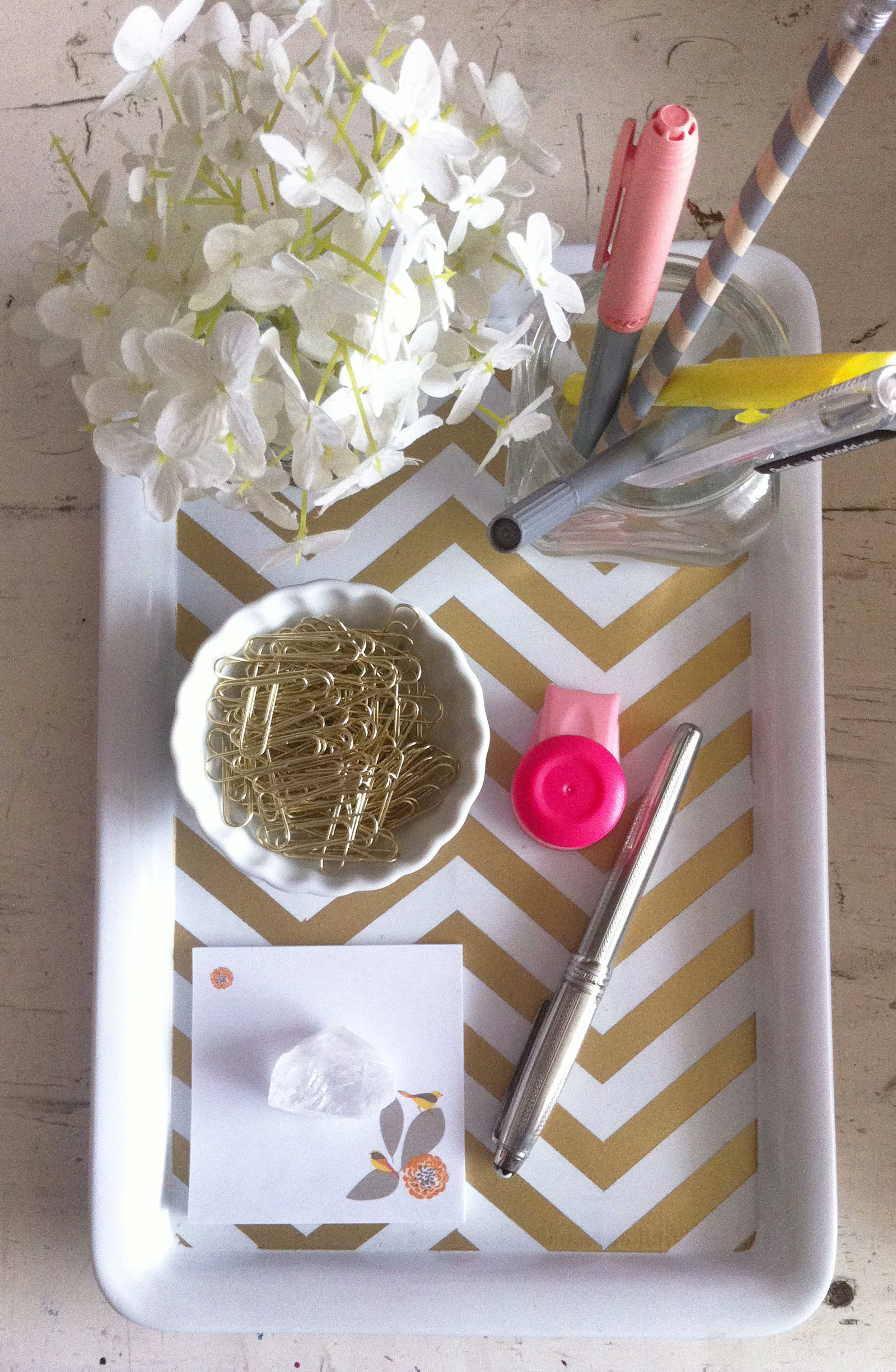 Best ideas about DIY Desk Accessories . Save or Pin DIY Gold Chevron Desk Tray Kate Spade office Now.