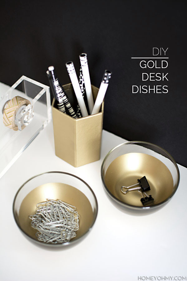 Best ideas about DIY Desk Accessories . Save or Pin DIY Gold Desk Dishes Homey Oh My Now.
