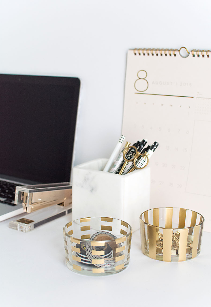 Best ideas about DIY Desk Accessories . Save or Pin DIY Gold Pattern Desk Organizers Homey Oh My Now.