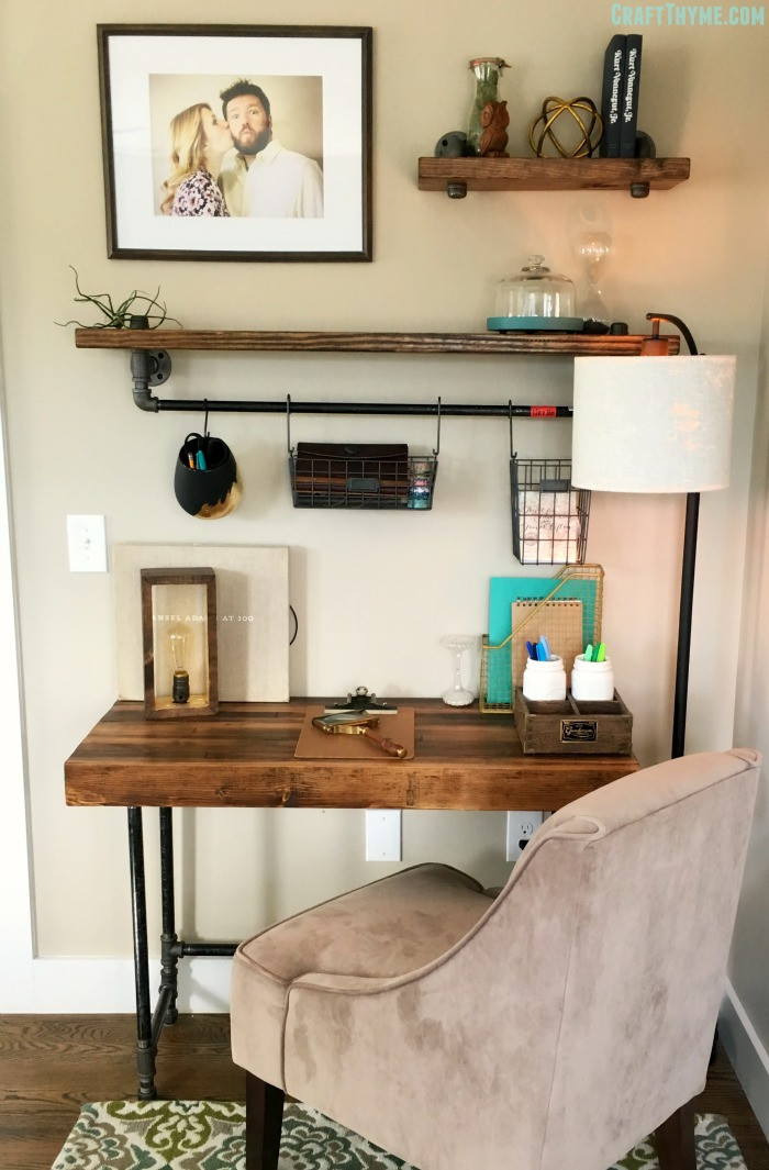 Best ideas about DIY Desk Shelf . Save or Pin Building a Custom Industrial Wooden Desk • Craft Thyme Now.