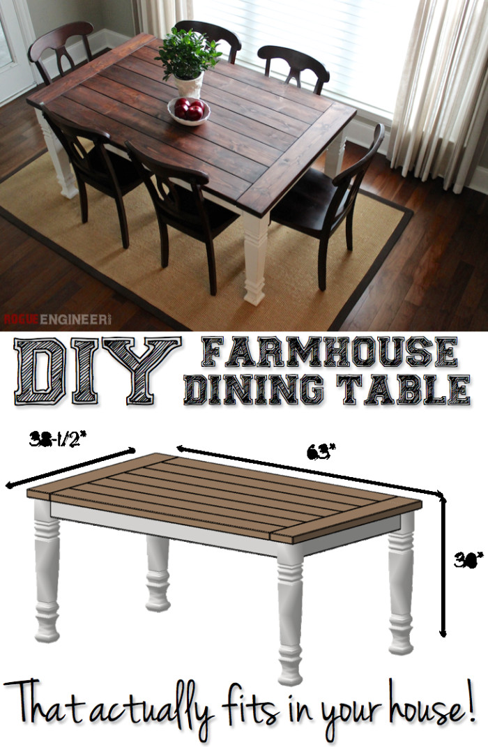 Best ideas about DIY Dining Room Table Plans . Save or Pin DIY Farmhouse Table Rogue Engineer DIY Plans Now.
