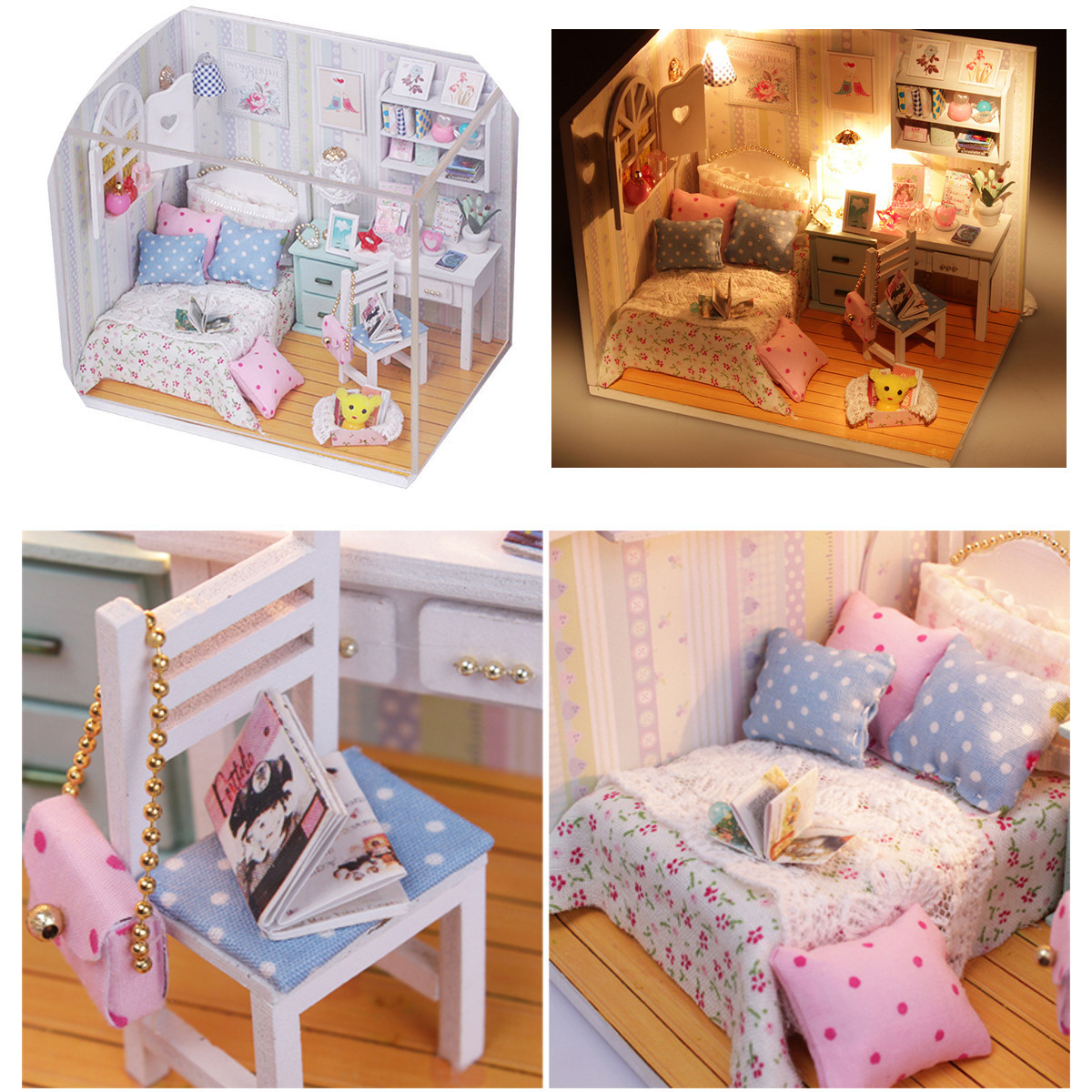 Best ideas about DIY Dolls Furniture . Save or Pin DIY Wood Dollhouse Miniature with LED Furniture Cover Doll Now.