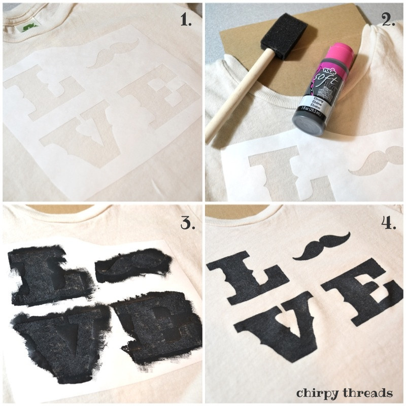 Best ideas about DIY Fabric Paint . Save or Pin DIY Mustache Love Shirt using fabric paint Now.