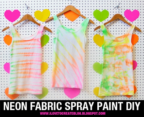 Best ideas about DIY Fabric Paint . Save or Pin iLoveToCreate Blog Neon Fabric Spray Paint Shirt DIY Now.