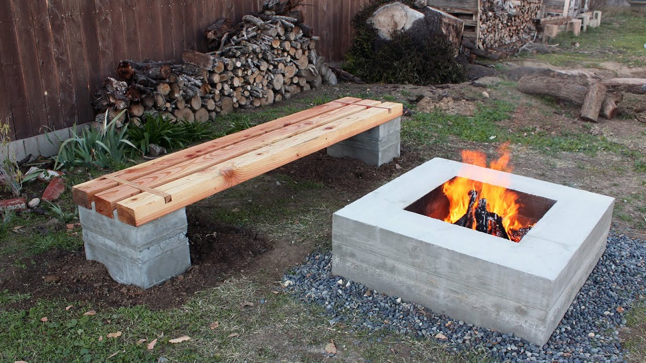 Best ideas about DIY Fire Pit Bench . Save or Pin How to make outdoor concrete and wood bench Now.