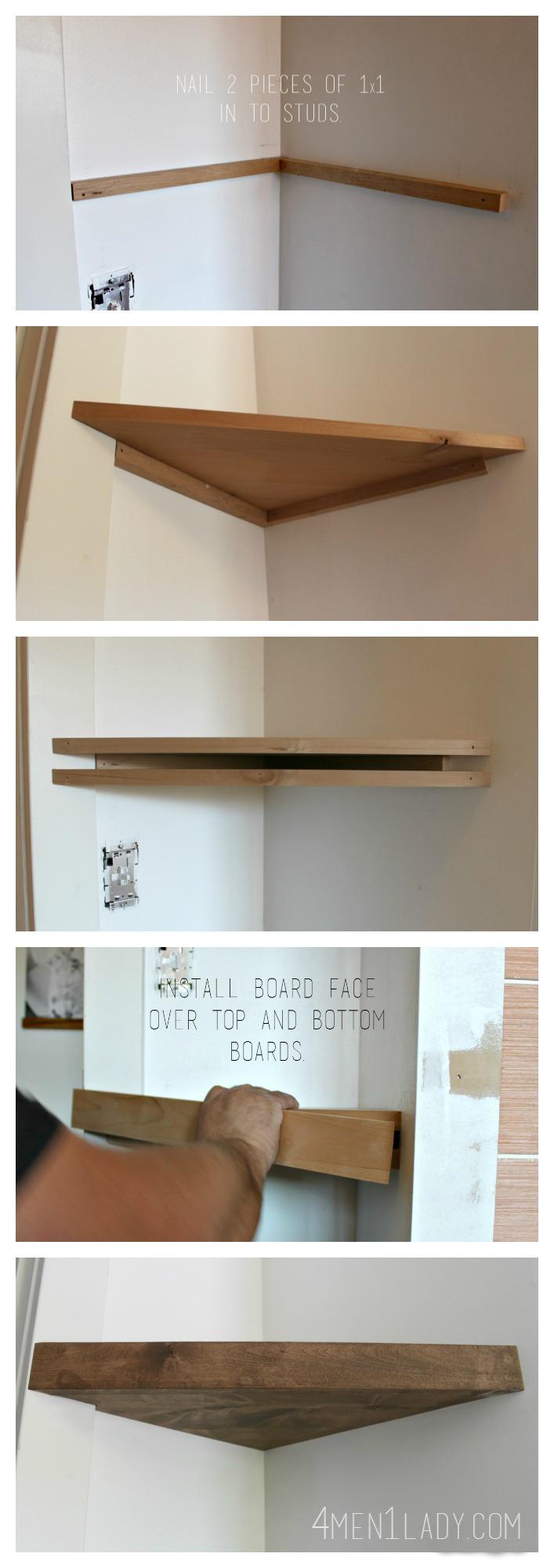 Best ideas about DIY Floating Corner Shelves . Save or Pin When Life Gives You Lemons…Make Corner Floating Shelves Now.