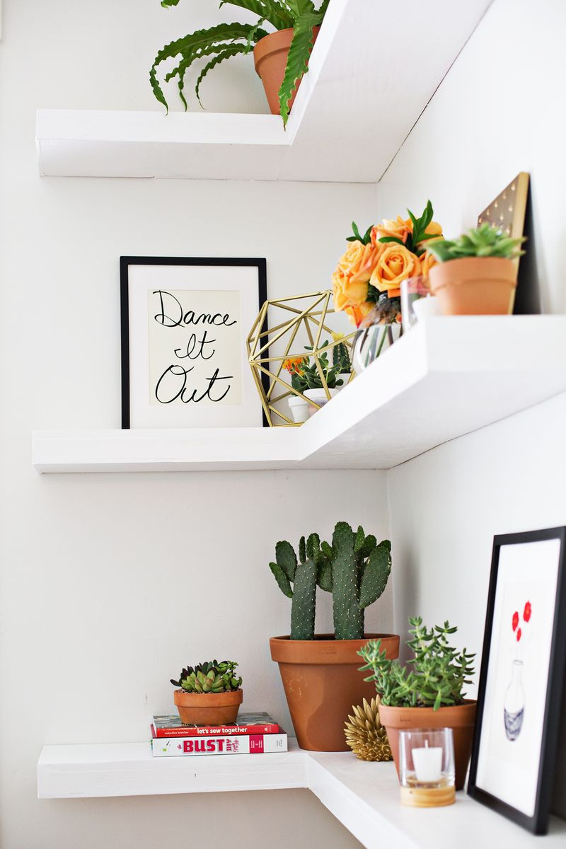 Best ideas about DIY Floating Corner Shelves . Save or Pin DIY Floating Corner Shelves – A Beautiful Mess Now.