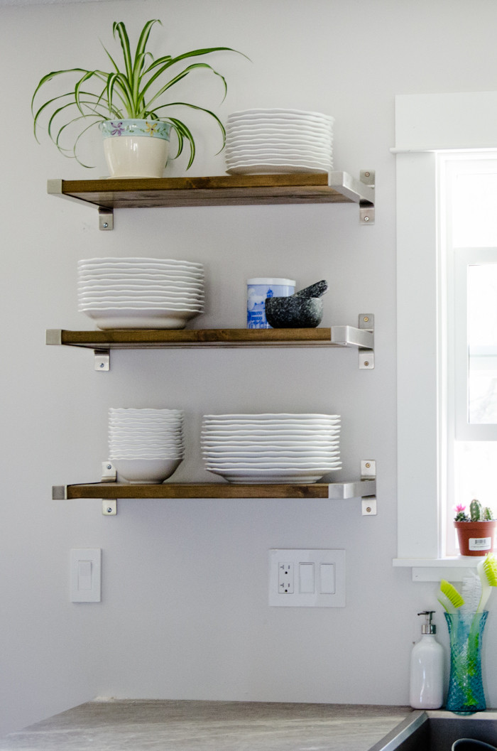 Best ideas about DIY Floating Kitchen Shelves . Save or Pin DIY Open Shelving for our Kitchen Lemon Thistle Now.