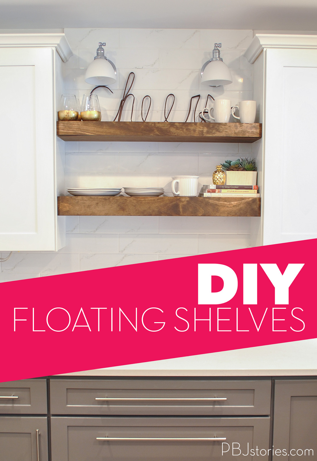 Best ideas about DIY Floating Kitchen Shelves . Save or Pin PBJstories Our DIY Open Kitchen Shelves Now.