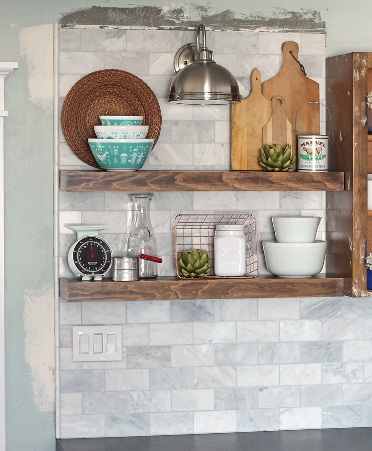 Best ideas about DIY Floating Kitchen Shelves . Save or Pin The Craft Patch DIY Marble Subway Tile Backsplash Tips Now.