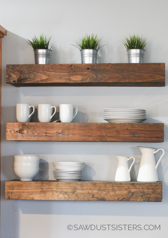 Best ideas about DIY Floating Wall Shelves . Save or Pin DIY Floating Shelves Free Plans Sawdust Sisters Now.