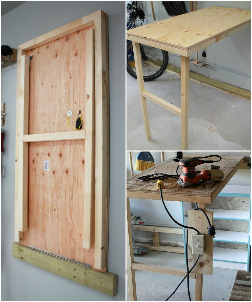 Best ideas about DIY Folding Table . Save or Pin DIY fold up work table for the garage with power switch Now.