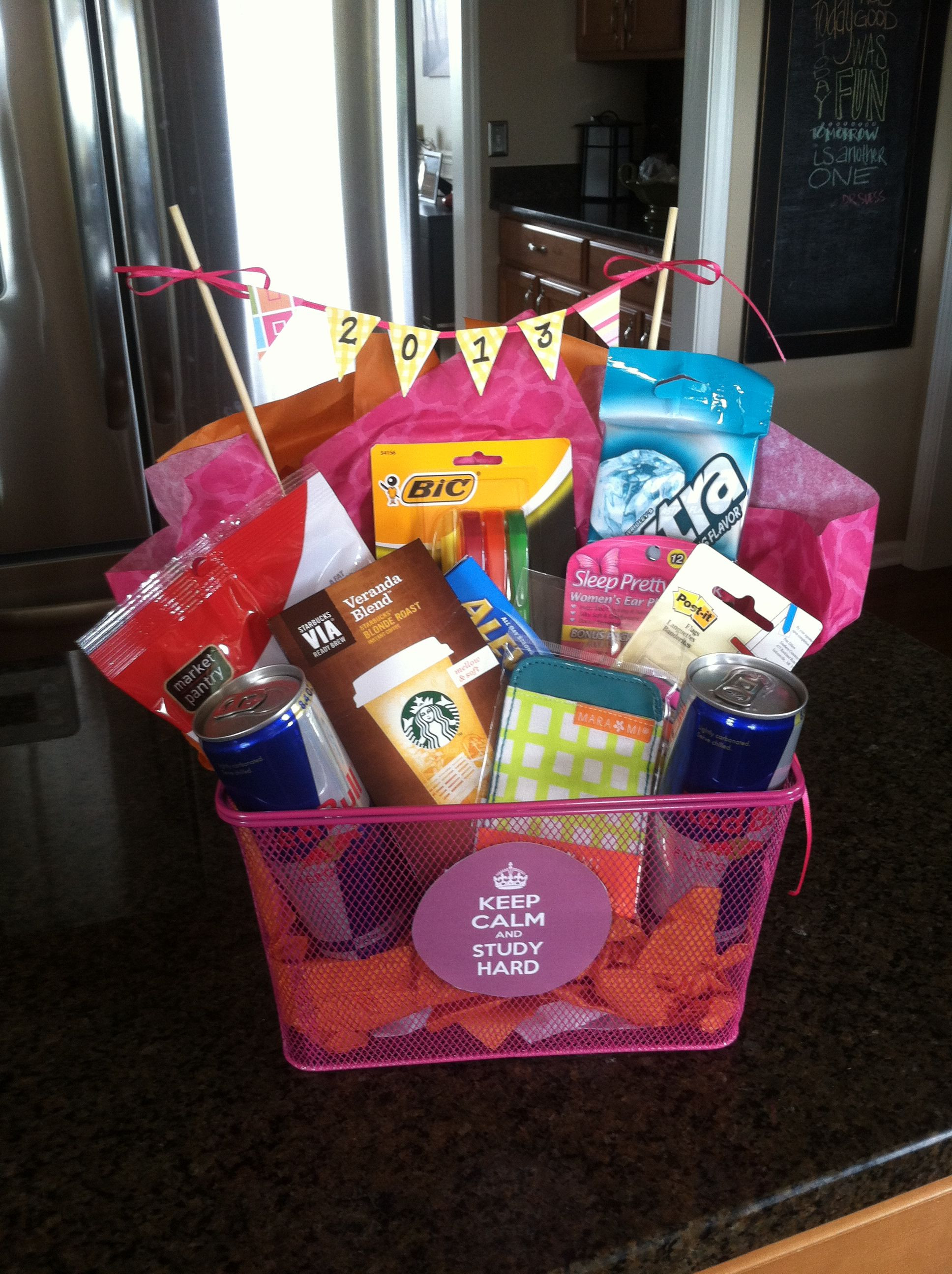 Best ideas about Diy Gift Basket Ideas For Her . Save or Pin f to college t basket study t basket graduation Now.
