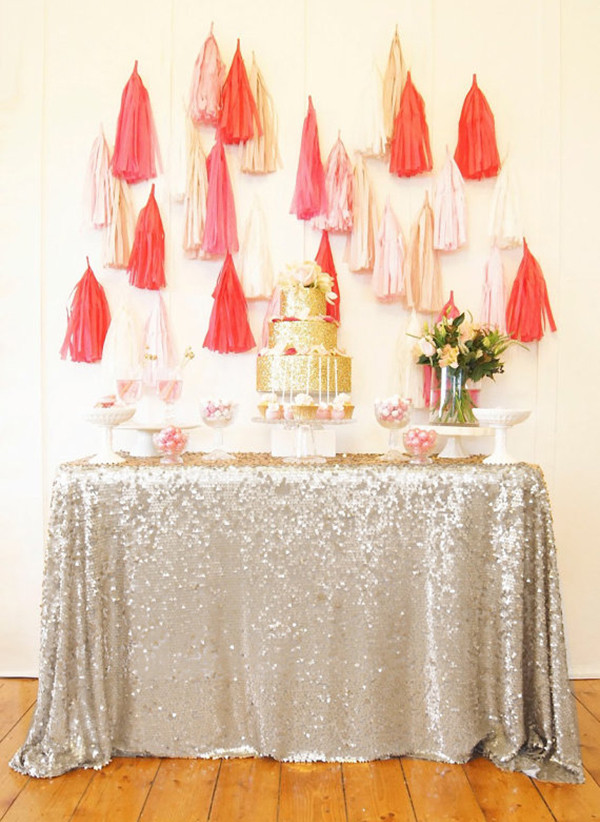 Best ideas about DIY Glitter Tablecloth . Save or Pin 15 New Year s Eve Party Essentials to Buy or DIY – Poor Now.