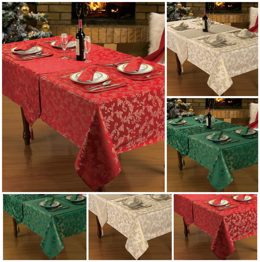 Best ideas about DIY Glitter Tablecloth . Save or Pin Christmas Table Linen Decoration Red Gold Glitter Table Now.