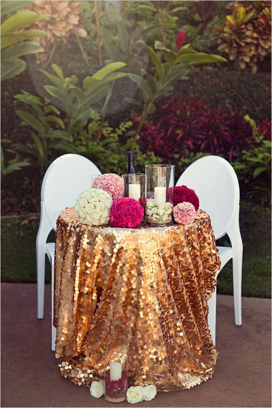 Best ideas about DIY Glitter Tablecloth . Save or Pin Sequins Sweetheart Table DIY Ideas Now.