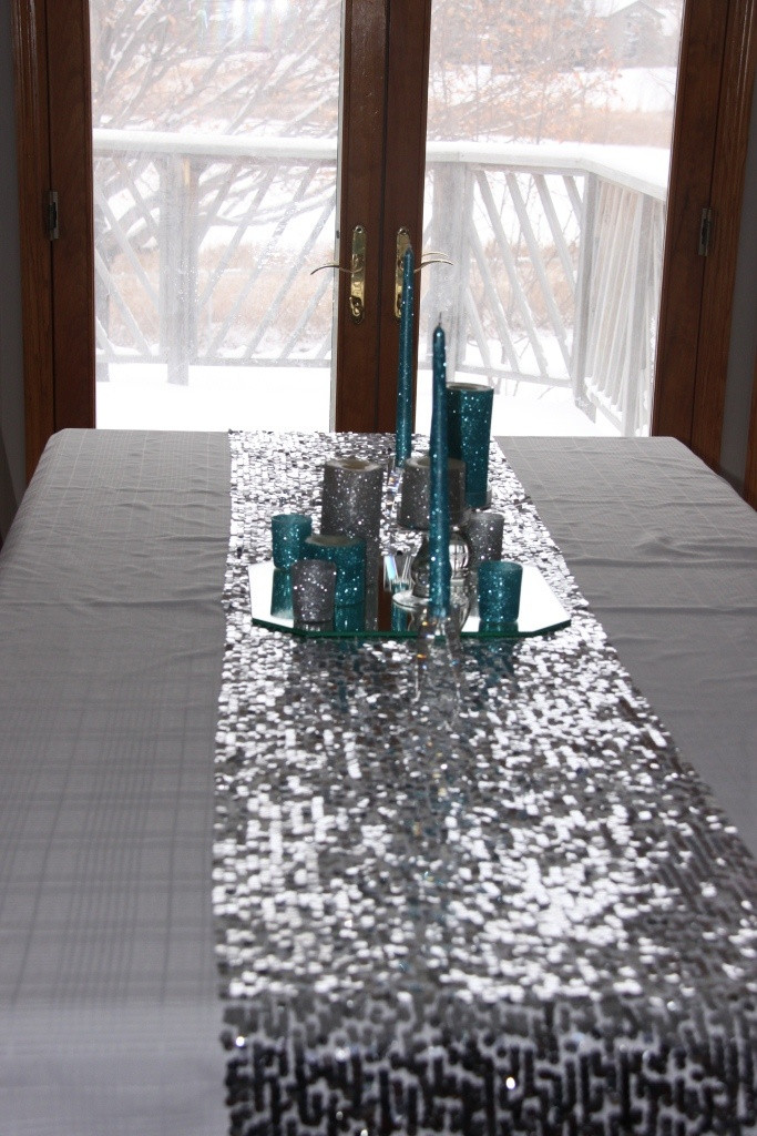 Best ideas about DIY Glitter Tablecloth . Save or Pin Christmas Sequin table runner DIY with glitter candles Now.