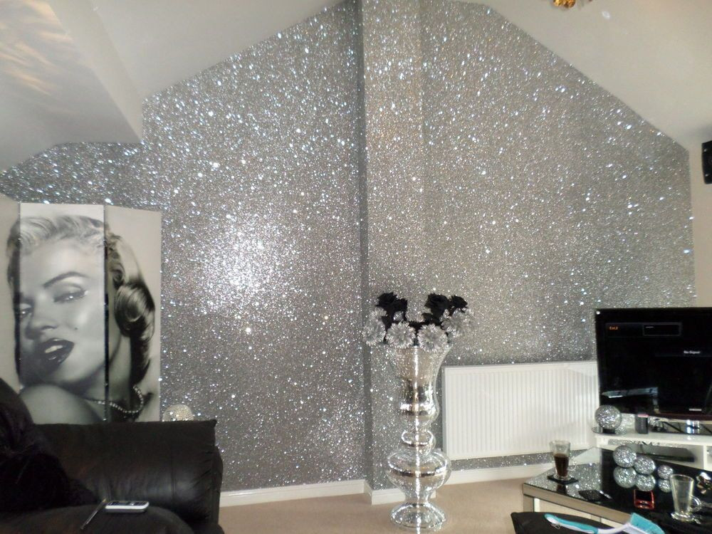 Best ideas about DIY Glitter Wall . Save or Pin Details about SAMPLE Glitter Wallpaper Chunky Fabric Now.