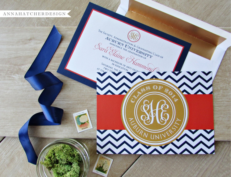 Best ideas about DIY Graduation Announcements . Save or Pin Monogrammed Graduation Announcement Graduation Invitation Now.