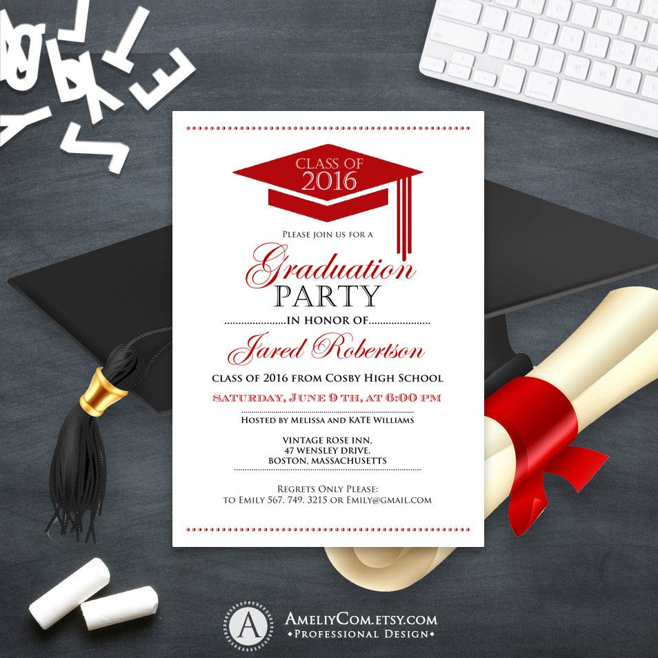 Best ideas about DIY Graduation Announcements . Save or Pin Graduation Announcement Boy Printable template Red High School Now.