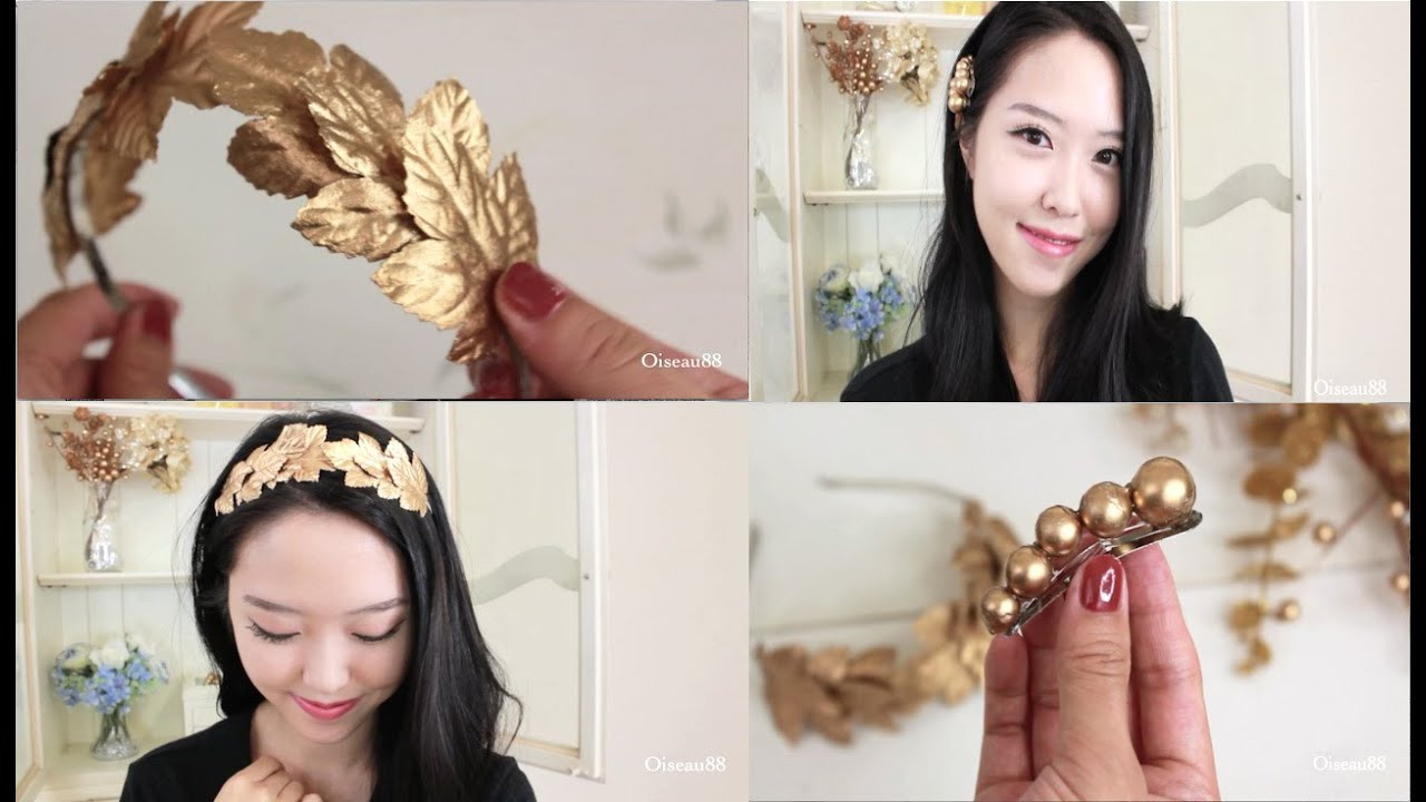 Best ideas about DIY Hair Clips . Save or Pin DIY Hair Accessories ♥ Gold Leaf Headband and Hair Clips Now.