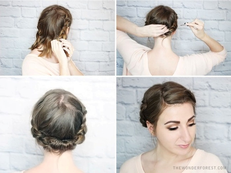 Best ideas about DIY Haircuts For Short Hair . Save or Pin Picture quick diy rolled braid updo for short hair 3 Now.