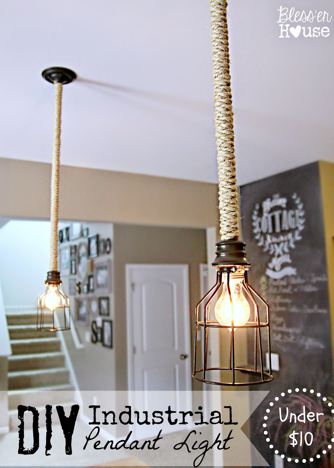 Best ideas about DIY Hanging Lamp . Save or Pin 5 DIY Industrial Light Fixtures for Under $25 Bless er House Now.