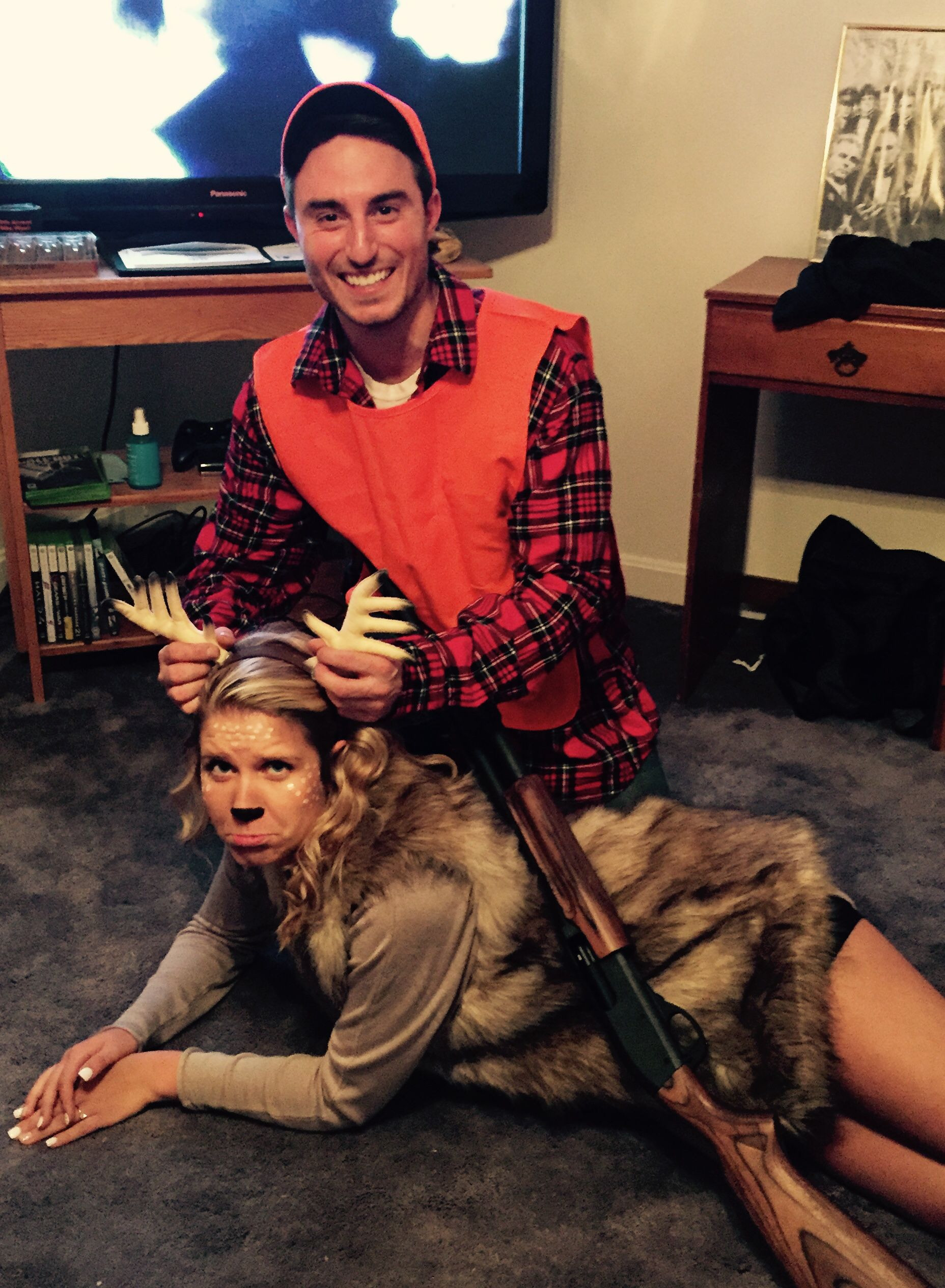 Best ideas about DIY Hunter Costume . Save or Pin Deer and hunter Halloween costume deer hunter Now.