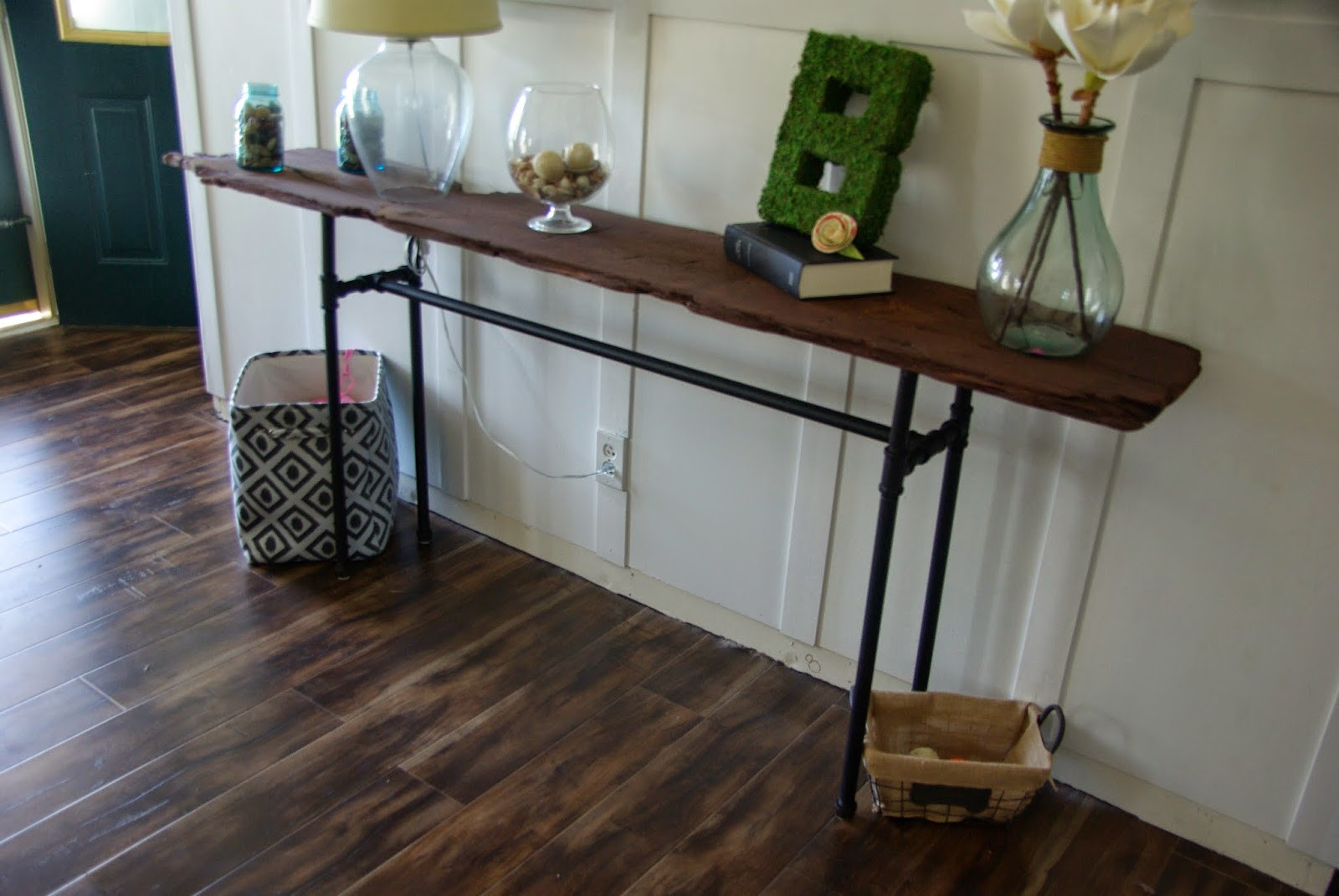 Best ideas about DIY Industrial Table . Save or Pin DIY industrial rustic console table • Our House Now a Home Now.